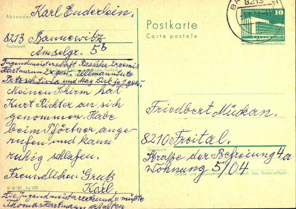Postkarte von Karl Enderlein 1984